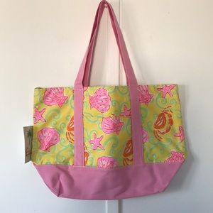 Lilly Pulitzer Pink/Yellow Canvas White Tag Tote